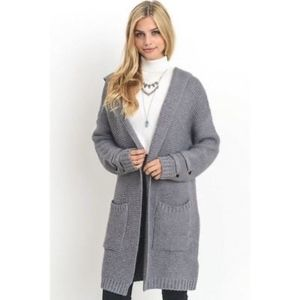 Sweaters - Long Chunky Knit Sweater Coat New Grey S M L